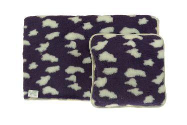 Komplet wełniany merynos koc 100x140 poduszka 40x40 chmurki
