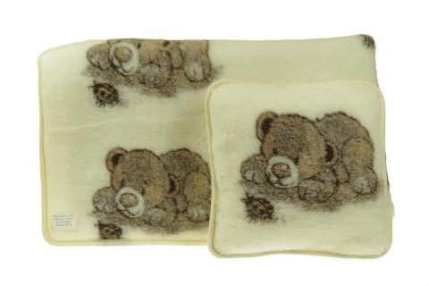 Komplet wełniany merynos koc 100x145 poduszka 40x40 niedźwiadek