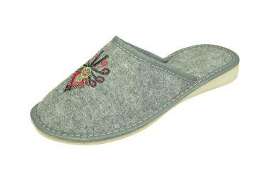 Pantofle filcowe kryte na klinie haft parzenica