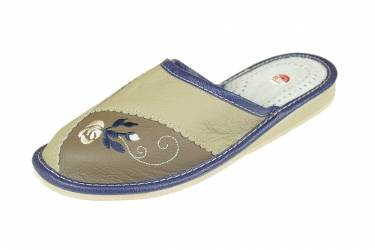 Pantofle skórzane zakryte profilowane szare z haftem
