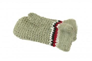 Rękawiczki wełniane z jednym palcem ręcznie robione szare
