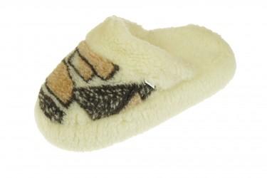 Pantofle wełniane wsuwane naturalne merynos anytpoślizgowe