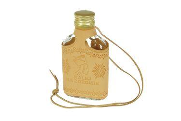 """Butelka piersiówka w skórze z rzemykiem """"Nalej na zdrowie"""""""