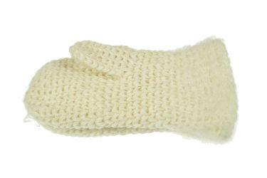 Rękawiczki wełniane z jednym palcem ręcznie robione kremowe