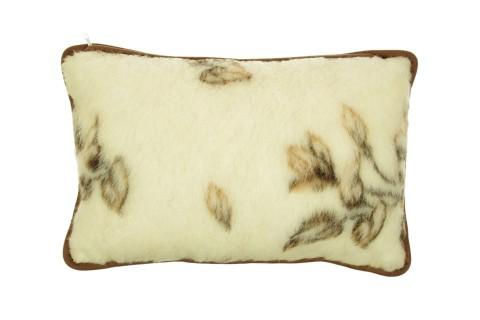 Poduszka z wełny merynos średnia 40x60 brązowe kwiaty
