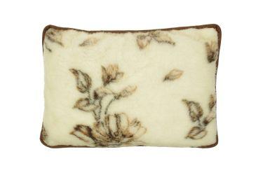 Poduszka wełniana naturalna wełna merynos 50x70 brązowe kwiaty