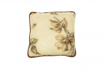 Poduszka wełniana jaś naturalna wełna merynos 45x45 brązowe kwiaty