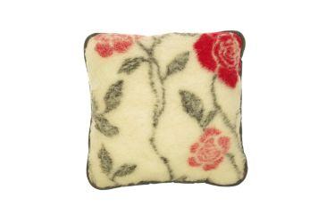 Poduszka wełniana jaś naturalna wełna merynos 45x45 czerwona róża