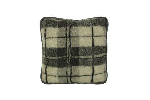 Poduszka wełniana jaś naturalna wełna merynos 45x45 krata szara