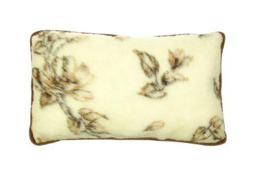 Poduszka wełniana merynos duża 45x75 atest brązowe kwiaty