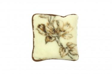 Poduszka wełniana jaś naturalna wełna merynos 40x40 brązowe kwiaty