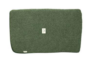 Koc wełniany wełna merynos 155x200 jednolity ciemno zielony