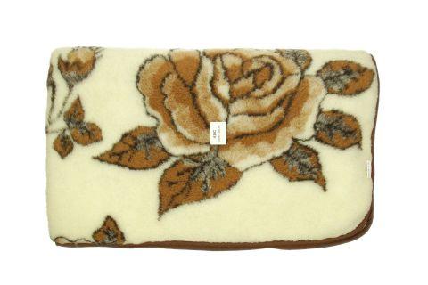 Koc wełniany naturalna wełna merynos 155x200 brązowa róża