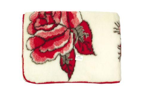 Koc wełniany wełna merynos 220x200 czerwona róża