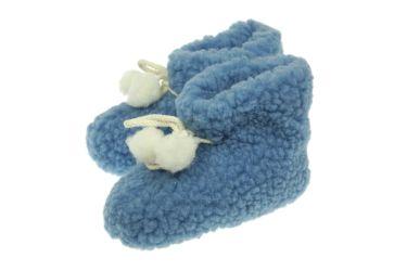 Bambosze z naturalnej wełny z antypoślizgową podeszwą dla dzieci niebieskie