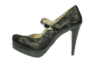 Buty skórzane czółenka szpilki na platformie stylizowane góralskie z paskiem