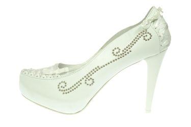 Buty ślubne skórzane czółenka stylizowane białe