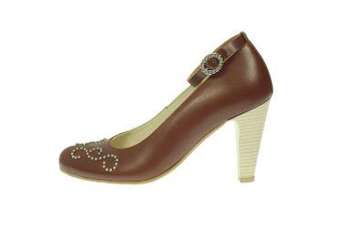 Buty skórzane czółenka szpilki stylizowane góralskie kognac