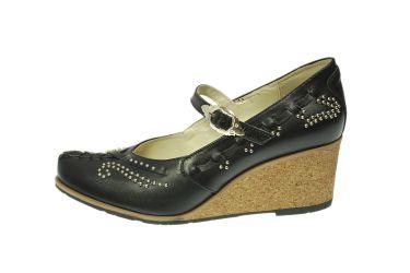 Buty skórzane góralskie stylizowane kierpce na koturnie
