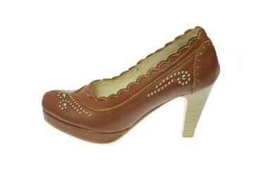 Buty skórzane czółenka szpilki stylizowane góralskie brązowe