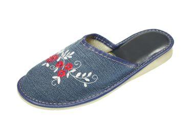 Pantofle jeansowe kapcie damskie na klinie