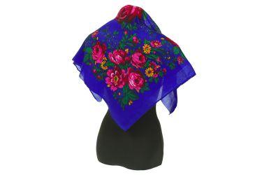 Chusta góralska apaszka folk bawełniana mała 75 cm niebieska w kwiaty