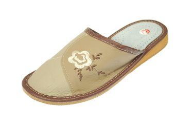 Pantofle skórzane kryte profilowane brązowe