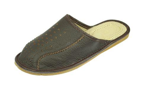 Pantofle skórzane męskie profilowane