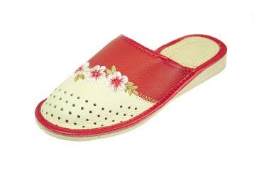 Pantofle skórzane kryte profilowane kremowo czerwone