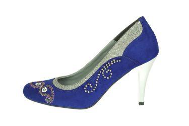 Buty góralskie szpilki stylizowane skórzane aksamit niebieskie