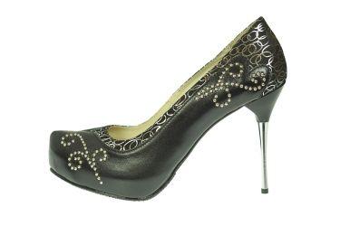 Buty skórzane góralskie czółenka szpilki na platformie srebrne wykończenie