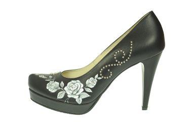 Buty góralskie skórzane malowane szpilki stylizowane czarne