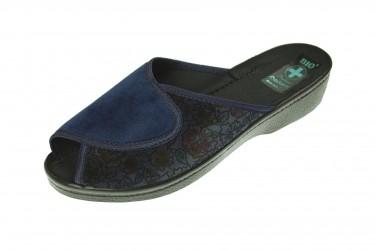 Pantofle na koturnie klapki odkryte profilowane BIO Adanex granatowe