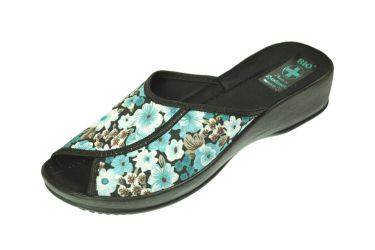 Pantofle na koturnie klapki odkryte profilowane BIO Adanex 20230 w kwiaty