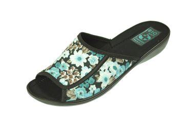 Pantofle klapki z odkrytymi palcami BIO Adanex 20197 w kwiaty