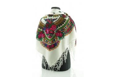 Chusta góralska bawełniana folk 90 cm z frędzlami biała
