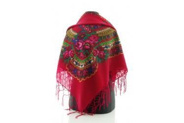 Chusta góralska bawełniana folk 90 cm z frędzlami czerwona
