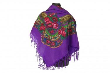 Chusta góralska bawełniana folk 90 cm z frędzlami fioletowa