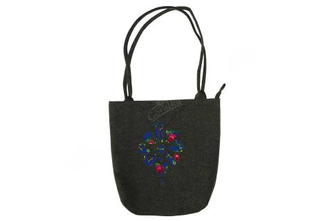 Torebka filcowa góralska folk torba na zakupy czarna z parzenicą niebieską