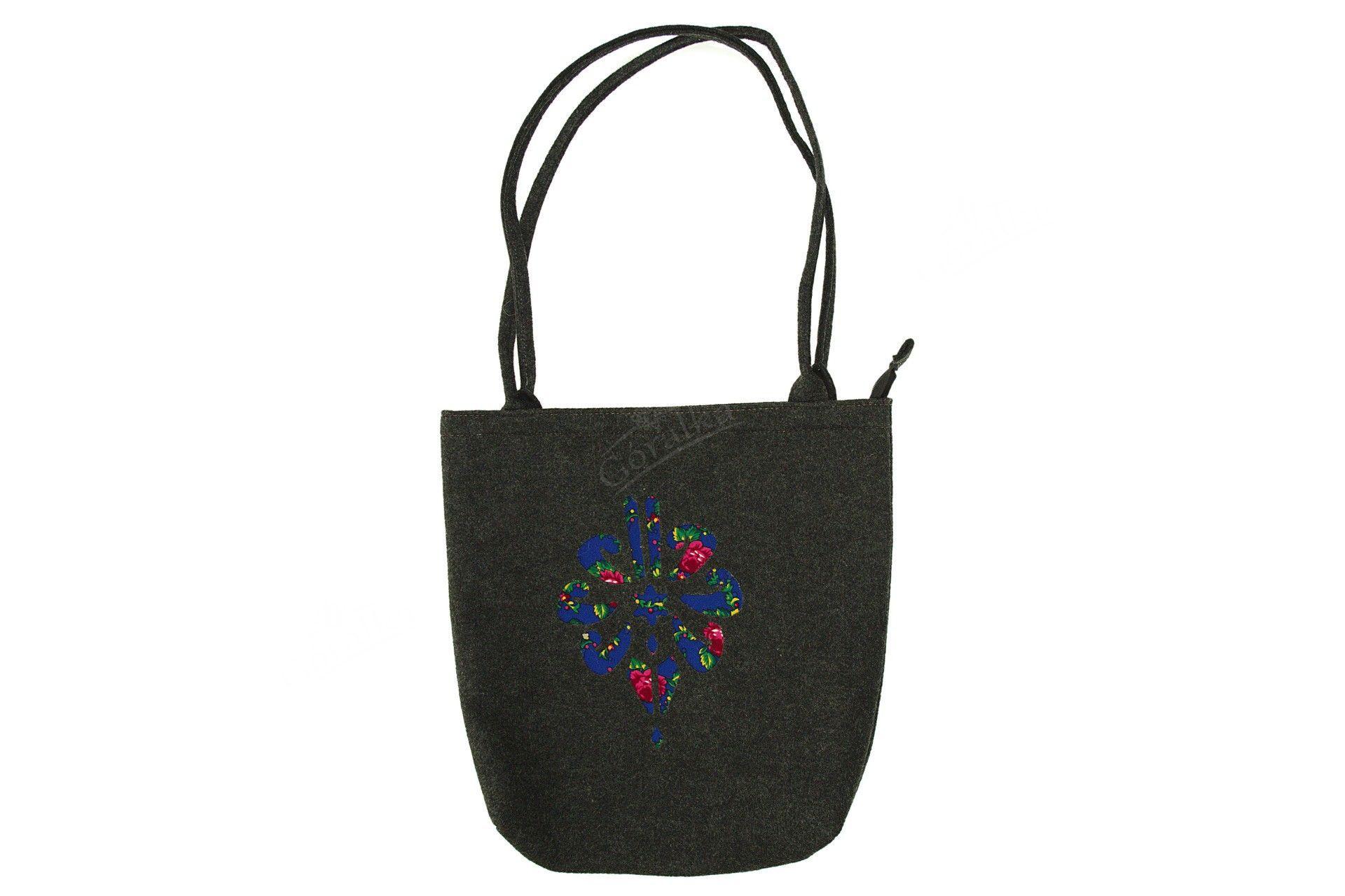 77b0d9d118bf9 Torebka filcowa góralska folk torba na zakupy czarna z parzenicą niebieską