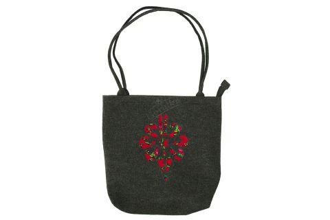 Torebka filcowa góralska folk torba na zakupy czarna z parzenicą czerwoną