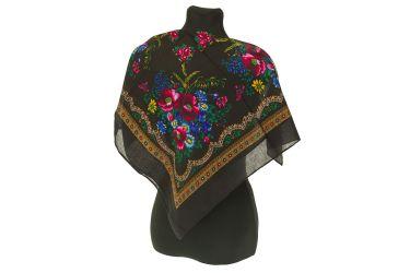 Chusta góralska apaszka folk bawełniana mała 75 cm czarna z ornamentem