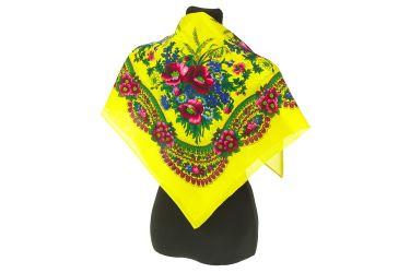 Chusta góralska apaszka folk bawełniana mała 75 cm żółta