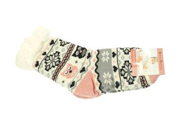 Skarpety damskie żelowe antypoślizgowe ocieplane 65% wełny biało-różowe