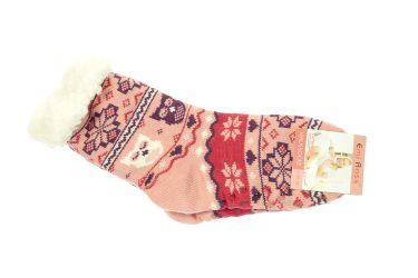 Skarpety damskie żelowe antypoślizgowe ocieplane 65% wełny różowe