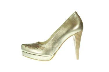 Buty góralskie skórzane malowane szpilki stylizowane złote