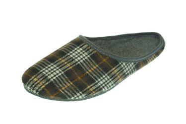 Kapcie męskie z filcu zakryte w kratkę podeszwa filcowa brązowe