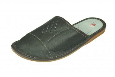 Pantofle skórzane męskie profilowane romby ciemny brąz