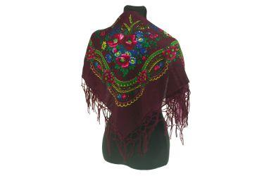 Chusta góralska bawełniana folk z frędzlami 75 cm bordowa w kwiaty